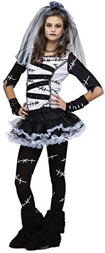 UHC Teen Girl's Frankenstein Monster Bride Outfit Fancy Dress Halloween Costume, Teen (0-9) (Deluxe Frankenstein Mask)