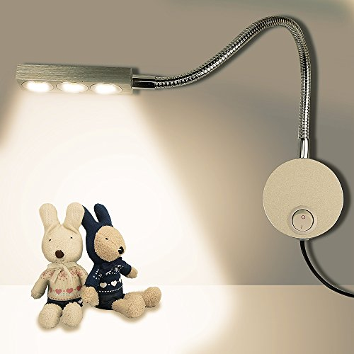Gooseneck Aluminum Lighting - Plug Wired Flexible 3X 1W 85-265V Aluminum Gooseneck Led Wall Mount Light Sconce Lamp Lighting with Switch for Bedroom Reading & Multi-Purpose Lighting (Warm White Lighting)