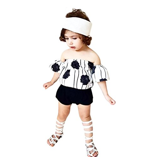 Old Navy Newborn (Goodlock Newborn Infant Fashion Clothes Set Baby Girls Off Shoulder Flower Rose Striped Tops+Shorts Outfit Set (Size:24M))