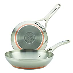 Anolon Nouvelle Copper Stainless Steel Twin Pack French Skillets, 8\
