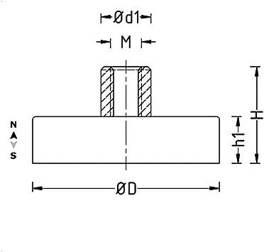 Innengewinde Neodym Topfmagnet /Ø 48 mm Haken oder /Öse zum Einschrauben Zubeh/ör:mit Haken