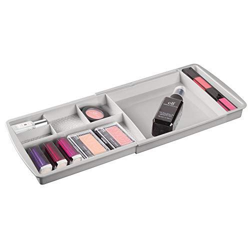 mDesign Juego de 2 organizadores de Maquillaje con divisiones – Caja organizadora Extensible para el cajón – Organizador de cosméticos, Productos de ...