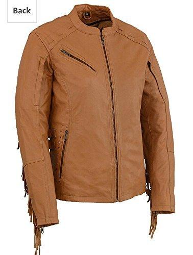 8a22f128585db Amazon.com  Milwaukee Leather Women s Lightweight Scuba Racer Jacket with  Fringe(Saddle