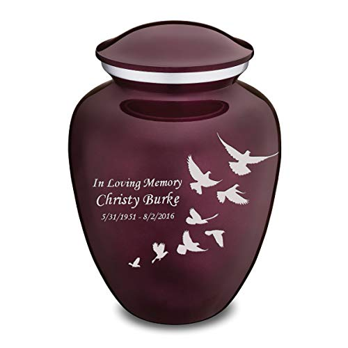 GetUrns Adult Embrace Doves Cremation Urn for Ashes with Custom Engraving (Cherry Purple)