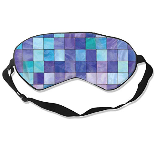 (LandonASerafin Stained Glass Checkered Pattern Block Light Sleep Mask Natural Silk Eye Mask Adjustable Strap Sleeping/Shift Work/Naps/Night Blindfold)