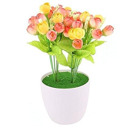 eDealMax plástico Home Office artificiales de Rose Craft Maceta Flor de escritorio de la decoración de