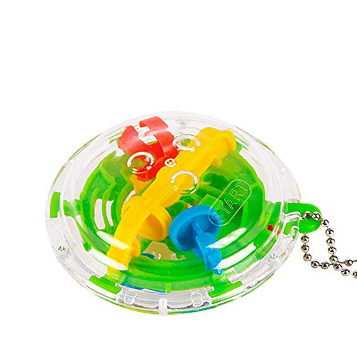 (36 Barriers 3D Spherical Labyrinth Magic Maze Ball Puzzle Toy Keyring Chain)