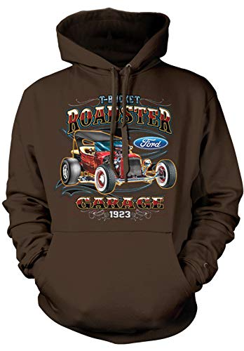 - Amdesco Men's 1923 Ford T-Bucket Roadster Hooded Sweatshirt, Dark Chocolate Large
