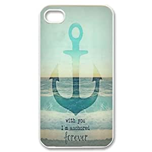 Qxhu With You I am Anchored Forever Hard Case Back Cover for Iphone4,4S