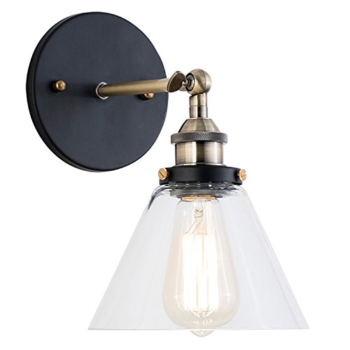 (Light Society Cruz Wall Sconce, Clear Glass Shade with Antique Brass Finish, Vintage Modern Industrial Farmhouse Lighting Fixture (LS-W129))