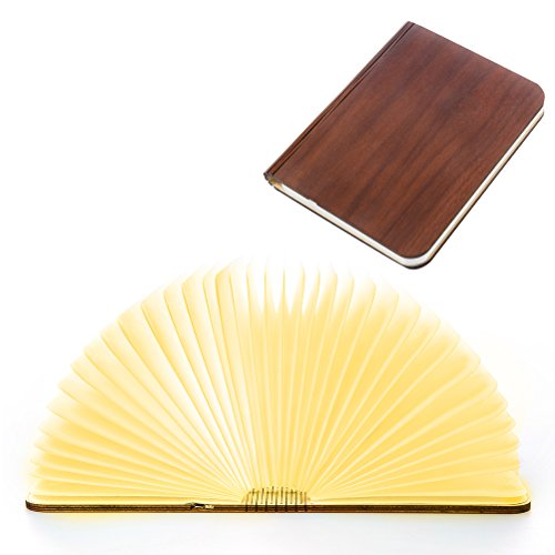 Wooden Folding Book Light, Magicfly USB Rechargable Book Shaped Light 4 Colors Led Desk Table Lamp for Decor, Magnetic Design- Creative Gift for Father's Day And Birthday