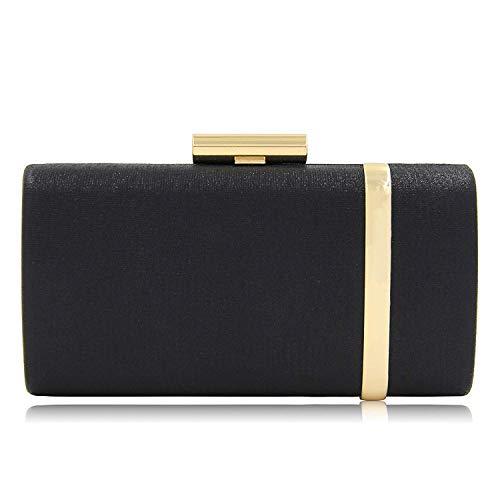 Metallic Suede Clutch - Yekajlin Clutch Purse for Women Bridal Party Evening Bags Formal Clutches, Black, Small