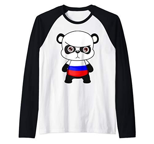 Funny Russian Panda With Jersey Raglan Baseball - Baseball Jersey Panda