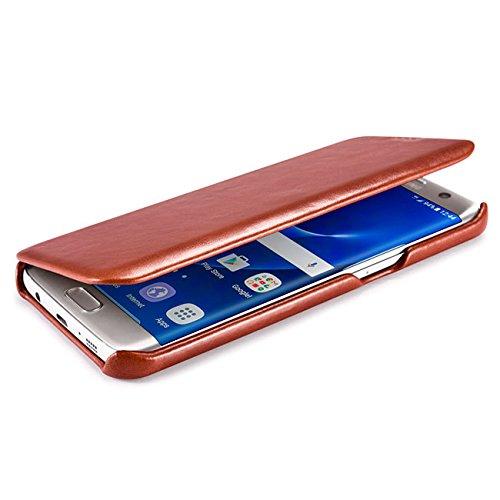 Funda Piel Samsung Galaxy Galaxy S7 Edge [iCareR Original] Flip Case Cover Cubierta Carcasa Case protectora Cuero Genuino, Cierre magnético - Negro Vintage Marrón