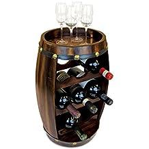 Puzzled Alexander 8 Bottle Dark Fir Wood Barrel Wine Rack - Barrel Shape Wine Décor Rack Stand Furniture - Barrel Collection - Unique and Elegant Gift - Item #9420