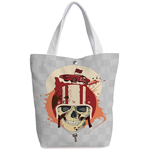 ng bag,shoulder handbags,Shoulder Bag,Skull,Racing Driver Skull with Helmet Dead Competitor Retro Horror Style Graphic Art Print,Multi,Personalized Canvas Tote Bag ()