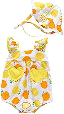 Little Girls Straps Dot Print Romper Red, 0-3 Months Cute Hat Outfits Set