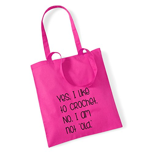 Little CROCHET OLD NOT Pink TO I LIKE NO YES AM I Tote Pretty Bag Stickers YgPwdYq