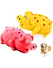 Squeaky Pig Dog Toys, Grunting Pig Dog Toy That Oinks Grunts for Small Medium Large Dogs, Durable Rubber Pig Squeaker Dog Puppy Chew Toys, Latex Interactive Squeak Funny Cute Dog Toy Set