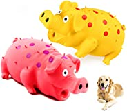 Squeaky Pig Dog Toys, Grunting Pig Dog Toy That Oinks Grunts for Small Medium Large Dogs, Durable Rubber Pig S