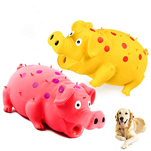 Squeaky Pig Dog Toys, 2 Pack Grunting Pig Dog Toy That Oinks Grunts for Small Medium Large Dogs, Durable Rubber Pig…