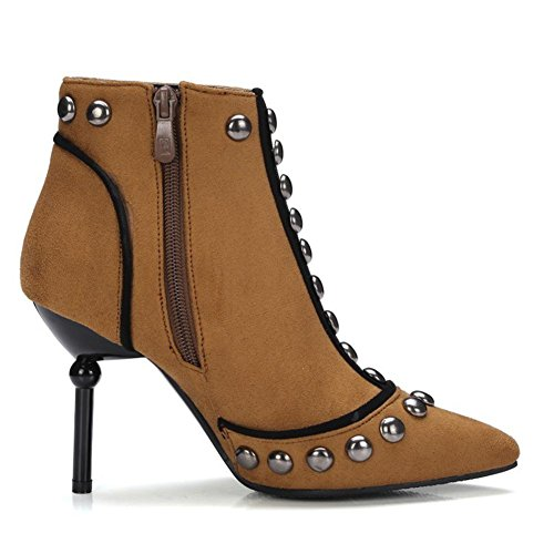 EUR35UK3 Party Suede Ladies Fall Black Winter Heel Pointed Short BROWN Work Toe Brown High Women's NVXIE Rivet Boots Tq868R