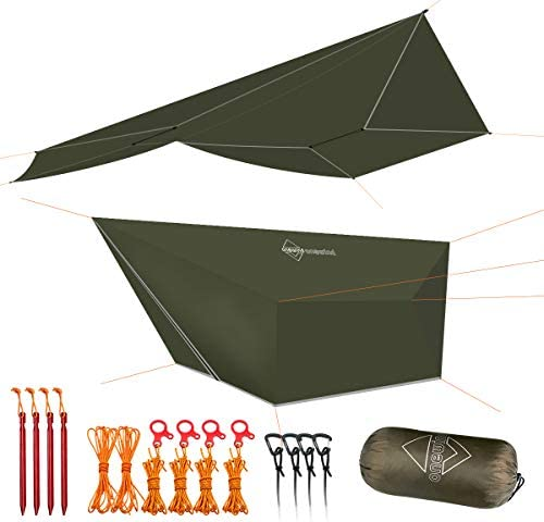 onewind Tarp Hammock Rain Fly Tarp Shelter Silnylon 5000mm Guyline Stakes Tensioners Included