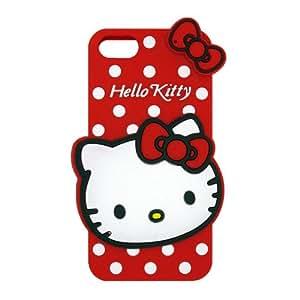 Rojo Hello Kitty La funda de silicona suave cubierta protectora para Apple iPhone 5 5s 5G 5th Generation with zap-strap Cable Tie