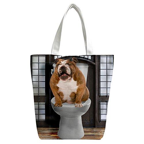 Violetpos Benutzerdefiniert Canvas Handtasche Einkaufstaschen Umhängetasche Schultasche Lunch-Tasche Interessant Hund auf der Toilette BBSKSoEQ