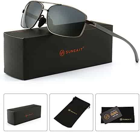 SUNGAIT Ultra Lightweight Rectangular Polarized Sunglasses 100% UV protection