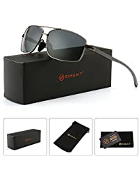 Ultra Lightweight Rectangular Polarized Sunglasses 100%...