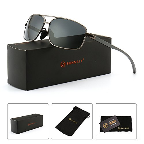 SUNGAIT Ultra Lightweight Rectangular Polarized Sunglasses 100% UV protection (Gunmetal Frame Gray Lens, 62) Metal Frame 2458 QKH