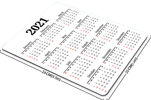 Smooffly Gaming Mouse Pad Custom,2021 Calendar Non-Slip Rubber Mouse Pad Mousepad 9.5 X 7.9 Inch (240mmX200mmX3mm) |