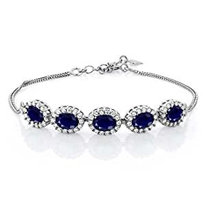 925 Sterling Silver Blue Sapphire Gemstone Birthstone Bracelet, 6.14 Ctw, Center Stones: 7X5MM, 7 Inch + 1.5 inch Extender