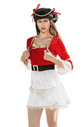 [Adult Women Royal Lady Pirate Halloween Costume Sexy Captain Dress Up & Role Play (One size fits most, red, white,] (Sexy Halloween Dress Up)