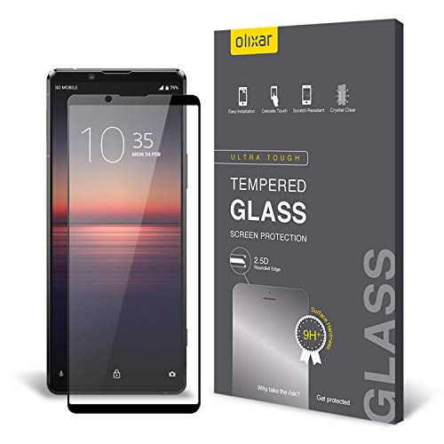 Olixar Screen Protector for Sony Xperia 1 II, Tempered Glass - Shock Proof, Anti-Scratch, Anti-Shatter, Bubble Free, Clear HD Clarity Full Coverage Case Friendly - Easy Application