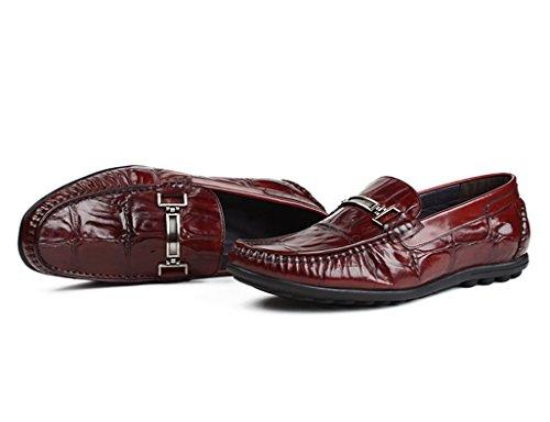 Herren Lederschuhe Herren Lederschuhe Peas Schuhe Freizeitschuhe British Style Lounger Atmungsaktiv Herrenschuhe ( Farbe : Weinrot , größe : EU44/UK8.5 ) Weinrot
