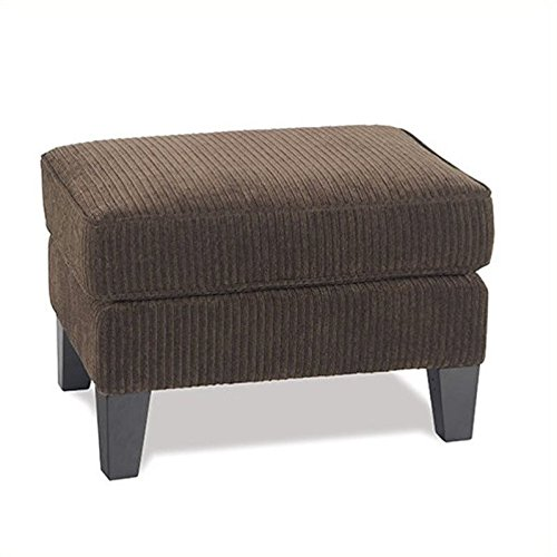 Avenue Six Sierrs Ottoman. Corduroy Coffee Fabric. Solid Wood Legs. Exrtra Thick Cusion Back. Sinuous Springs Spring Seat
