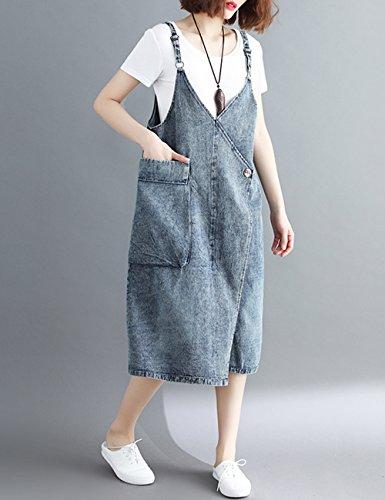 f776862ad20 Innifer Women Plus Size Loose Casual Strap Jean Pocket Denim Bib Overall  Dress