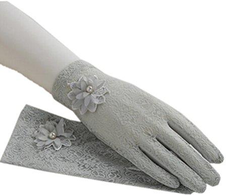 (リアルスタイル)Real Style 紫外線をしっかりガード!! タッチパネル UVカット 日焼け止め手袋 手袋 ショート グローブ 薄手 メッシュ 清涼 レース 花 滑止め付 女性 レディース