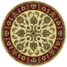 LR Resources Shapes Ivory/Red Traditional Floral Rug Round 7'9
