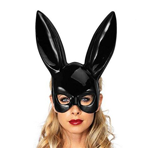 FENZL Easter Party Rabbit Ears Mask Half Face Masks Nightclub Bar Masquerade (Matte And Bright) (1838CM, Black (Bright)) -