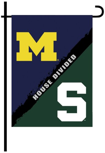 NCAA Michigan-Michigan State 2-Sided Garden Flag-Rivalry House Divided Rivalry House Flag