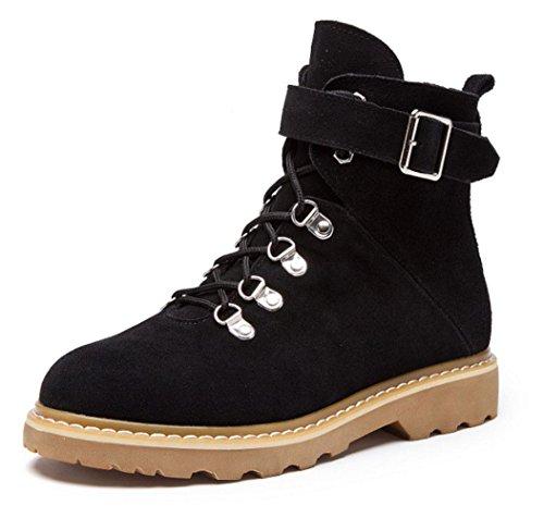 women boots winter Martin KUKI women and boots boots Black autumn boots cheap flat qEgqwtH8