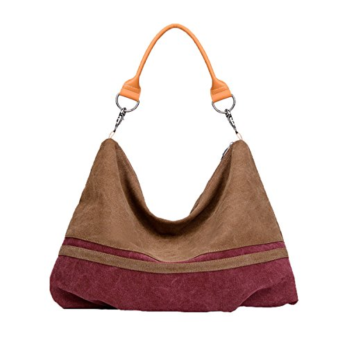 Mujeres Stripe Gran Capacidad Canvas Shoulder Bag Top Handle Bolsos 1