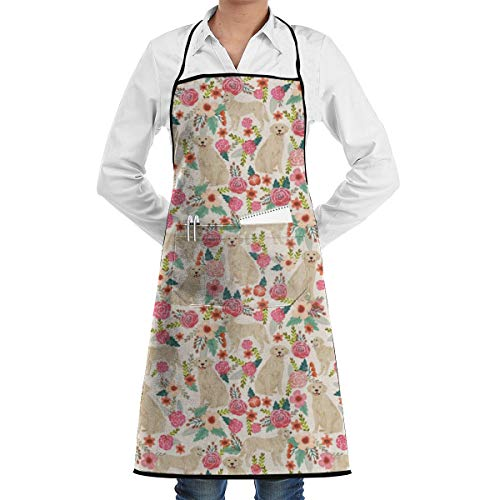 Yunilya Golden Retrievers Grill Aprons Kitchen Chef Bib Funny Aprons for Barbecue Grill Kitchen Gift Ideas