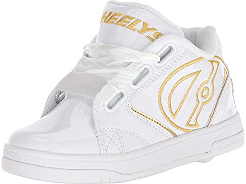 Heelys Girls' Propel 2.0 Tennis Shoe, White/Gold Satin, 1 M US Big ()