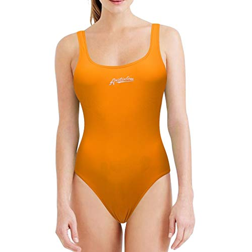 WOCACHI Swimsuits for Womens, Fashion Women Sexy Bikini One-Piece Swimwear Solid Color Push-Up Padded Girlfriend Boyfriend Gift Under 5 10 Fashion Newest Couples Orange