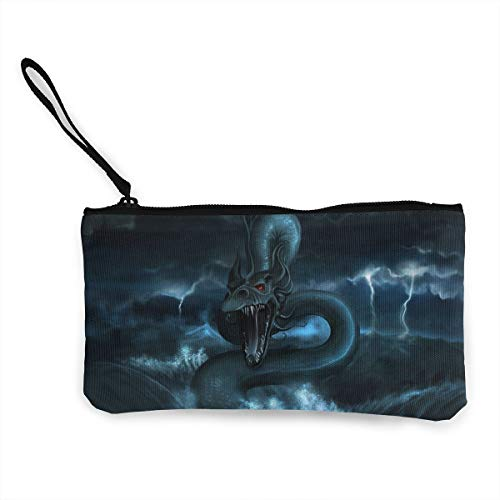 Oomato Canvas Coin Purse Chinese Dragon Cosmetic Makeup Storage Wallet Clutch Purse Pencil Bag ()