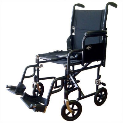 Lightweight Transport Wheelchair with Detachable Desk Arms Seat Size: 17'' W